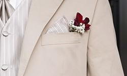 Beiger Bräutigams-Anzug mit Brusttaschen-Accessoires