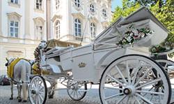 Eine weisse Kutsche als Hochzeitsfahrzeug