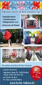 Anzeige Berlin Ballons: Luftballondekorationen für Ihre Hochzeit