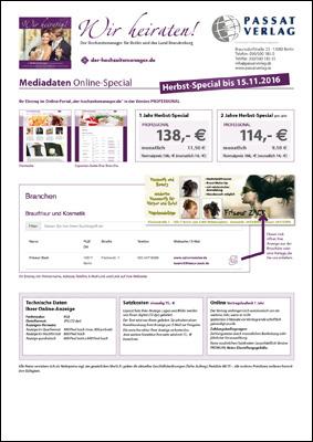 """Herbstspecial 2016 Mediadaten der Broschüre """"Wir heiraten"""""""